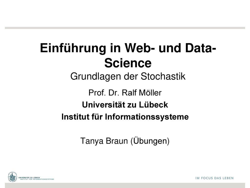 Einführung in Web- und Data-Science Grundlagen der Stochastik