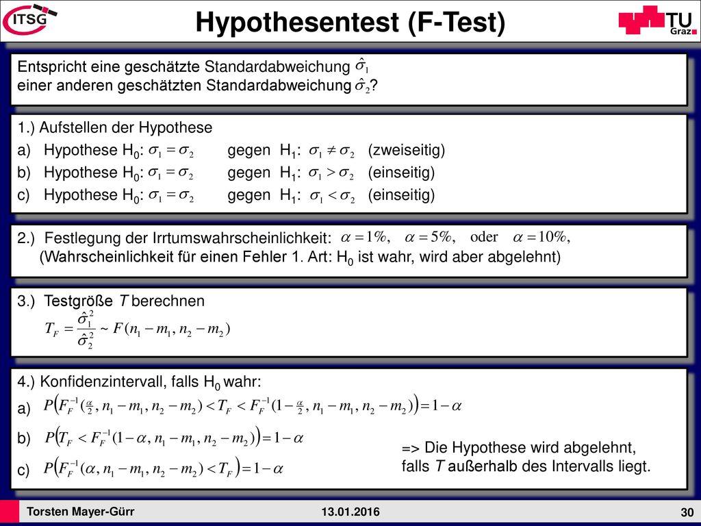 Hypothesentest (F-Test)
