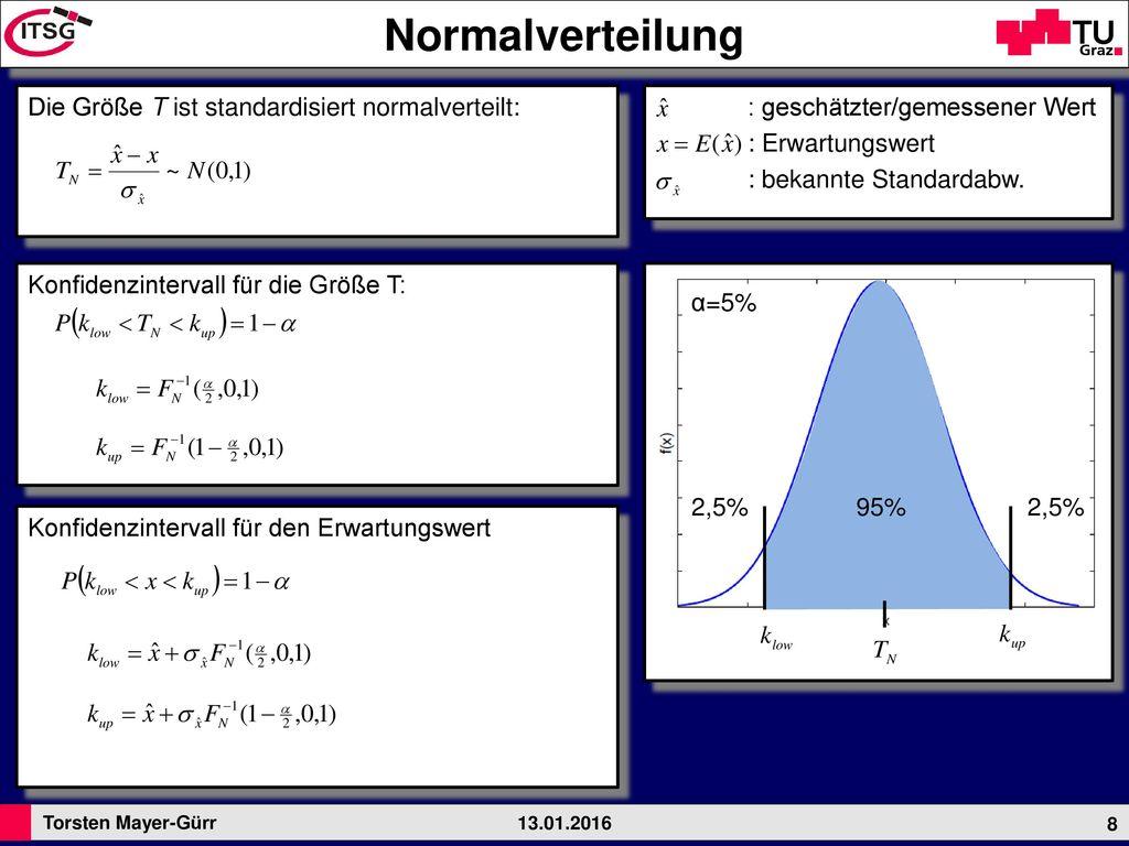 Normalverteilung Die Größe T ist standardisiert normalverteilt: