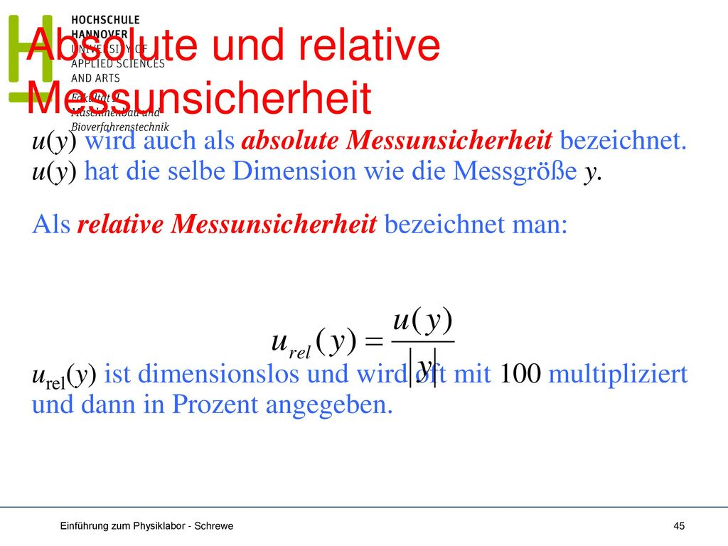 Absolute und relative Messunsicherheit