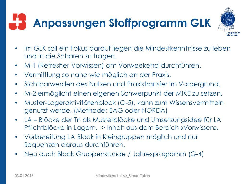 Anpassungen Stoffprogramm GLK