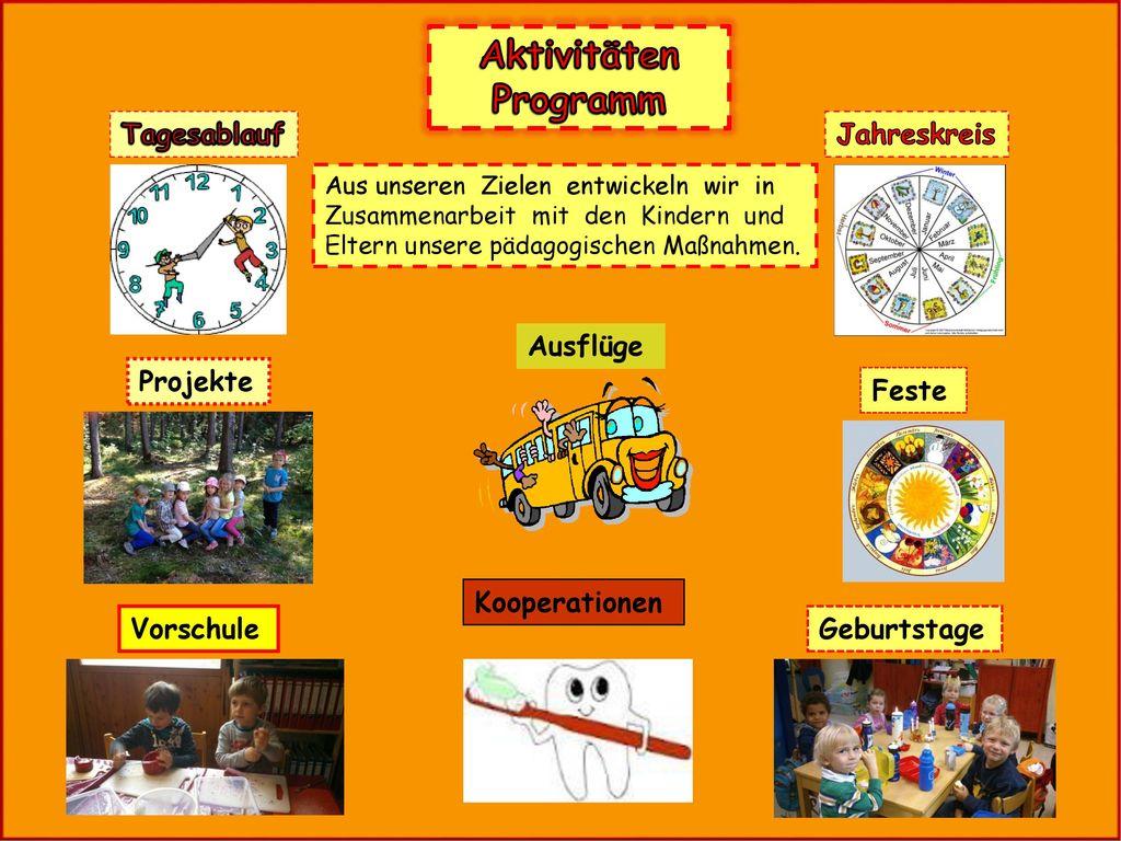 Aktivitäten Programm Tagesablauf Jahreskreis Ausflüge Projekte Feste