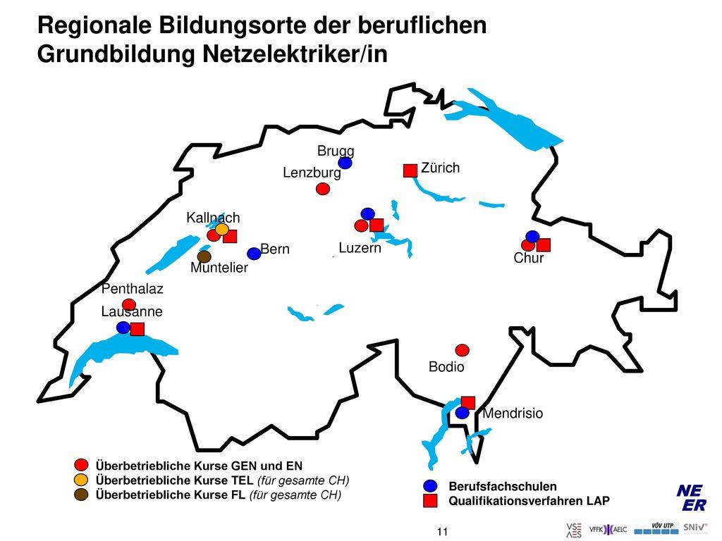 Regionale Bildungsorte der beruflichen Grundbildung Netzelektriker/in