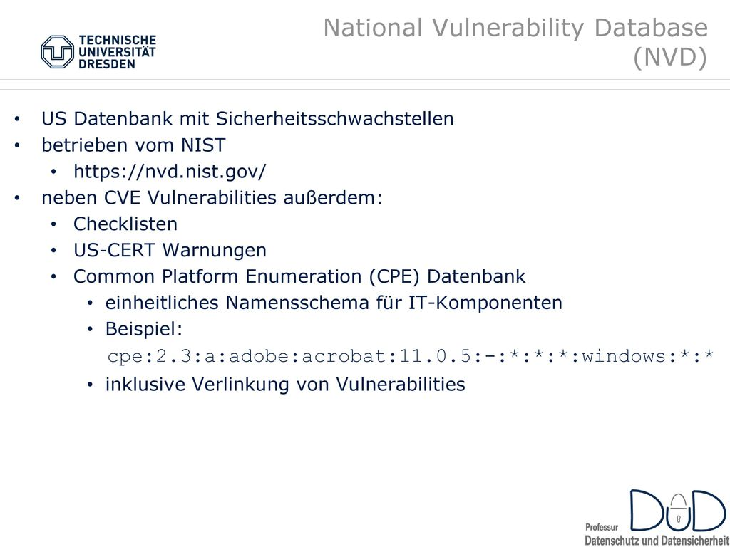 National Vulnerability Database (NVD)