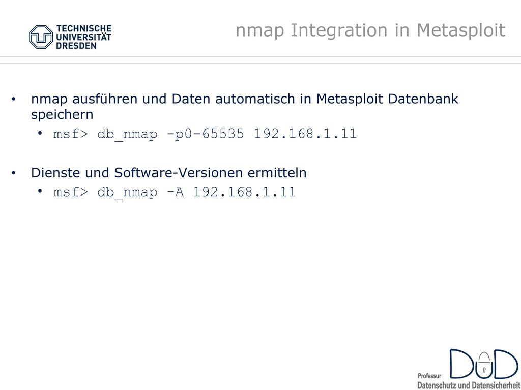 nmap Integration in Metasploit