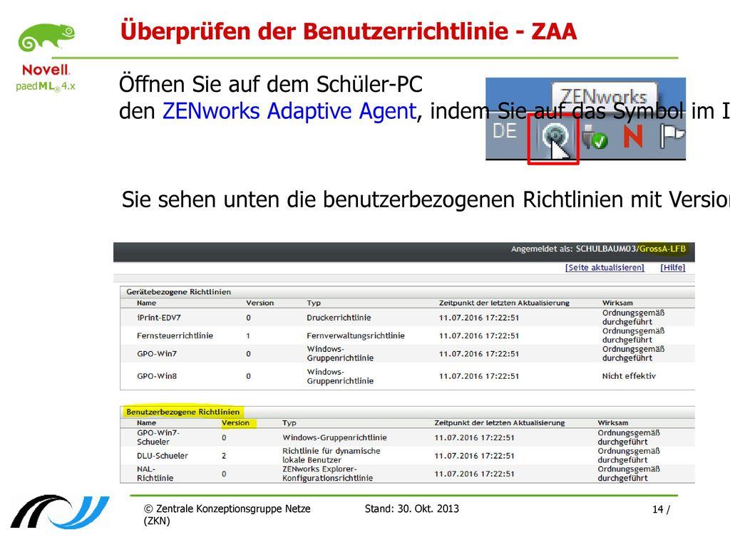 Überprüfen der Benutzerrichtlinie - ZAA