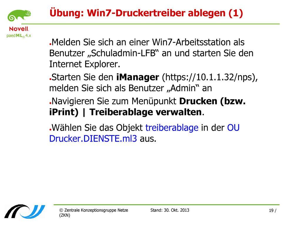 Übung: Win7-Druckertreiber ablegen (1)