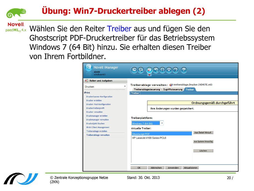 Übung: Win7-Druckertreiber ablegen (2)