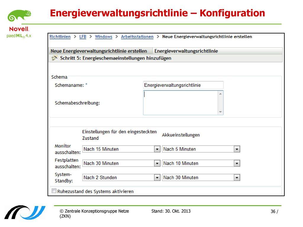 Energieverwaltungsrichtlinie – Konfiguration