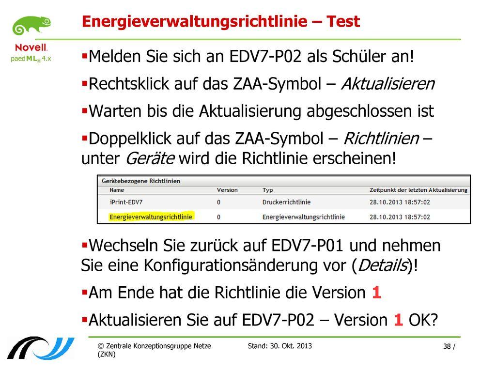 Energieverwaltungsrichtlinie – Test