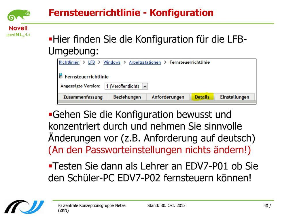Fernsteuerrichtlinie - Konfiguration