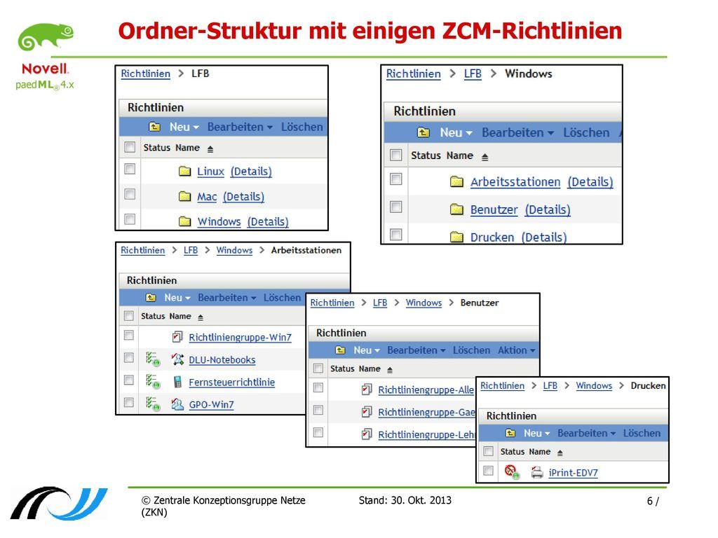 Ordner-Struktur mit einigen ZCM-Richtlinien