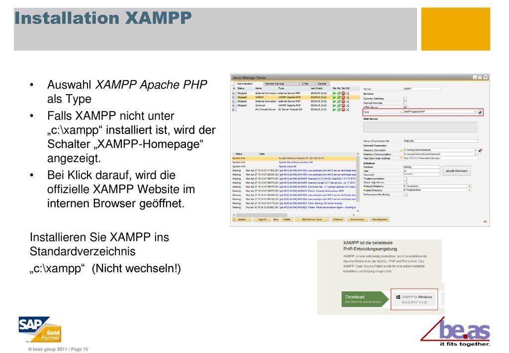 Installation XAMPP Auswahl XAMPP Apache PHP als Type