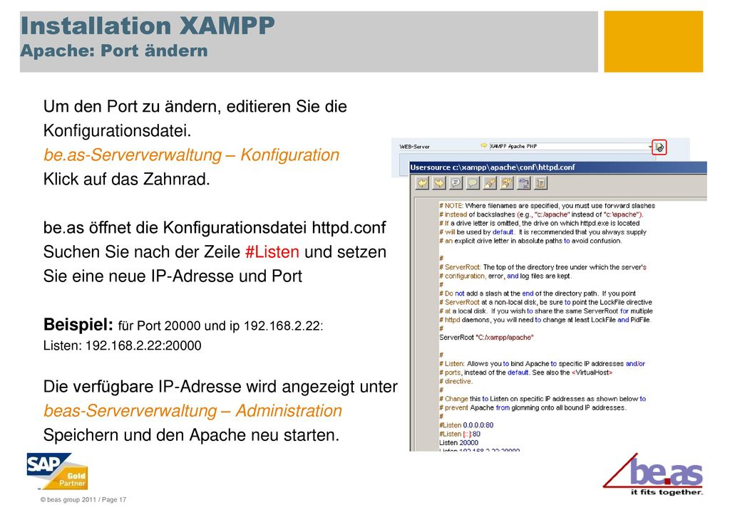 Installation XAMPP Apache: Port ändern