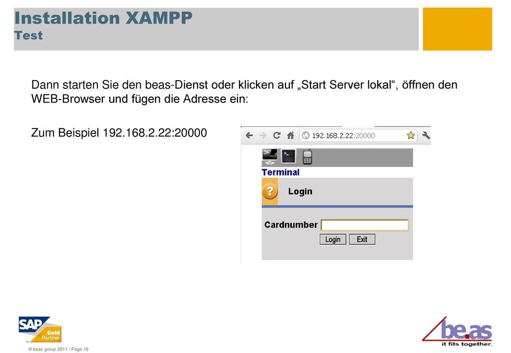 Installation XAMPP Test