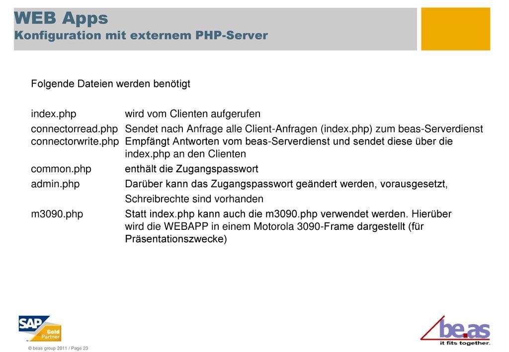 WEB Apps Konfiguration mit externem PHP-Server