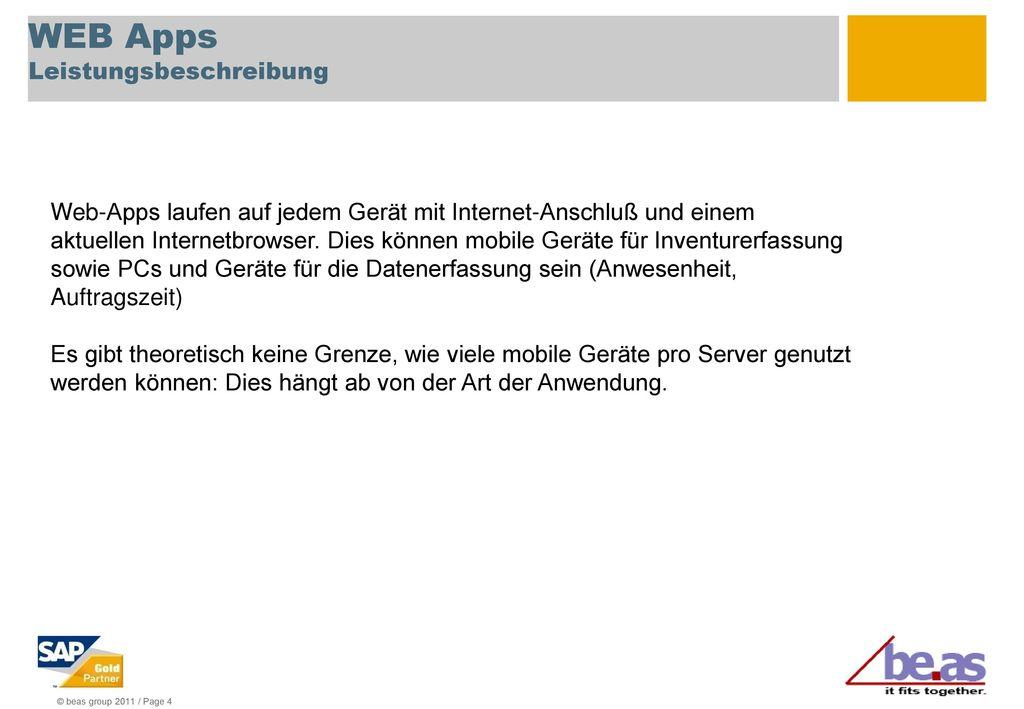 WEB Apps Leistungsbeschreibung