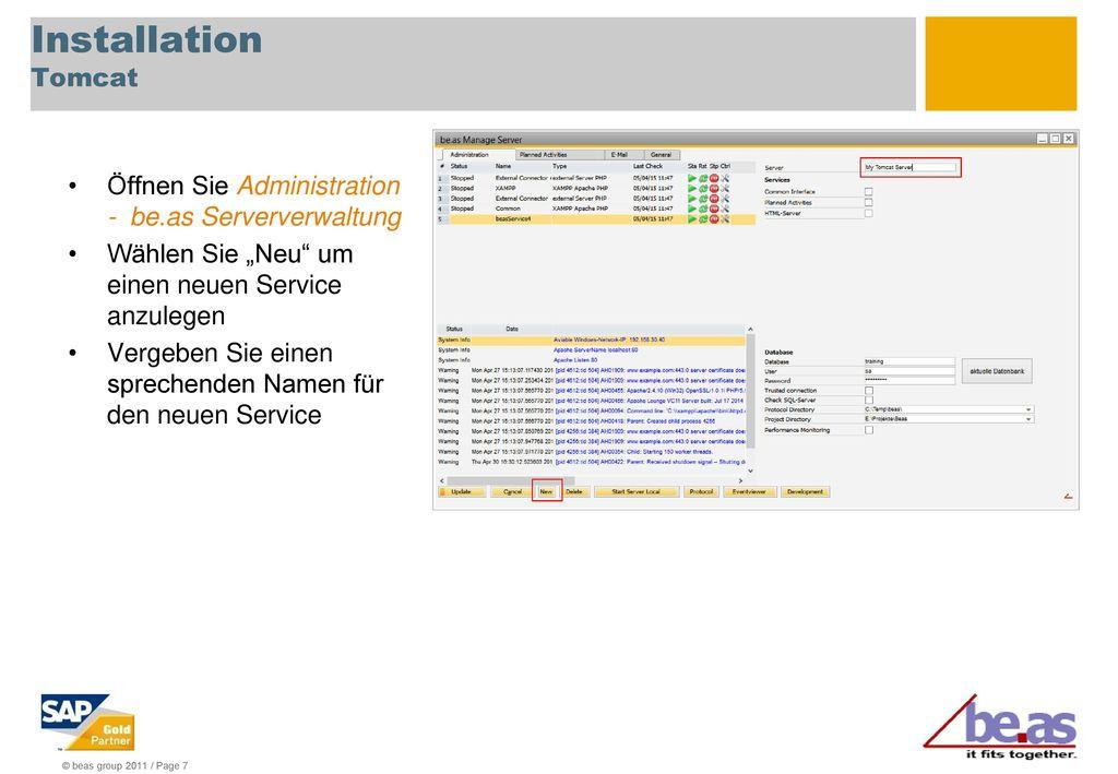 Installation Tomcat Öffnen Sie Administration - be.as Serververwaltung