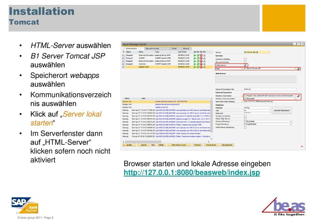 Installation Tomcat HTML-Server auswählen