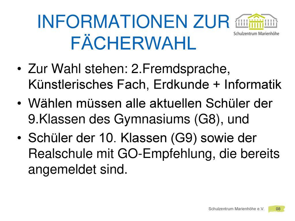 Informationen zur Fächerwahl
