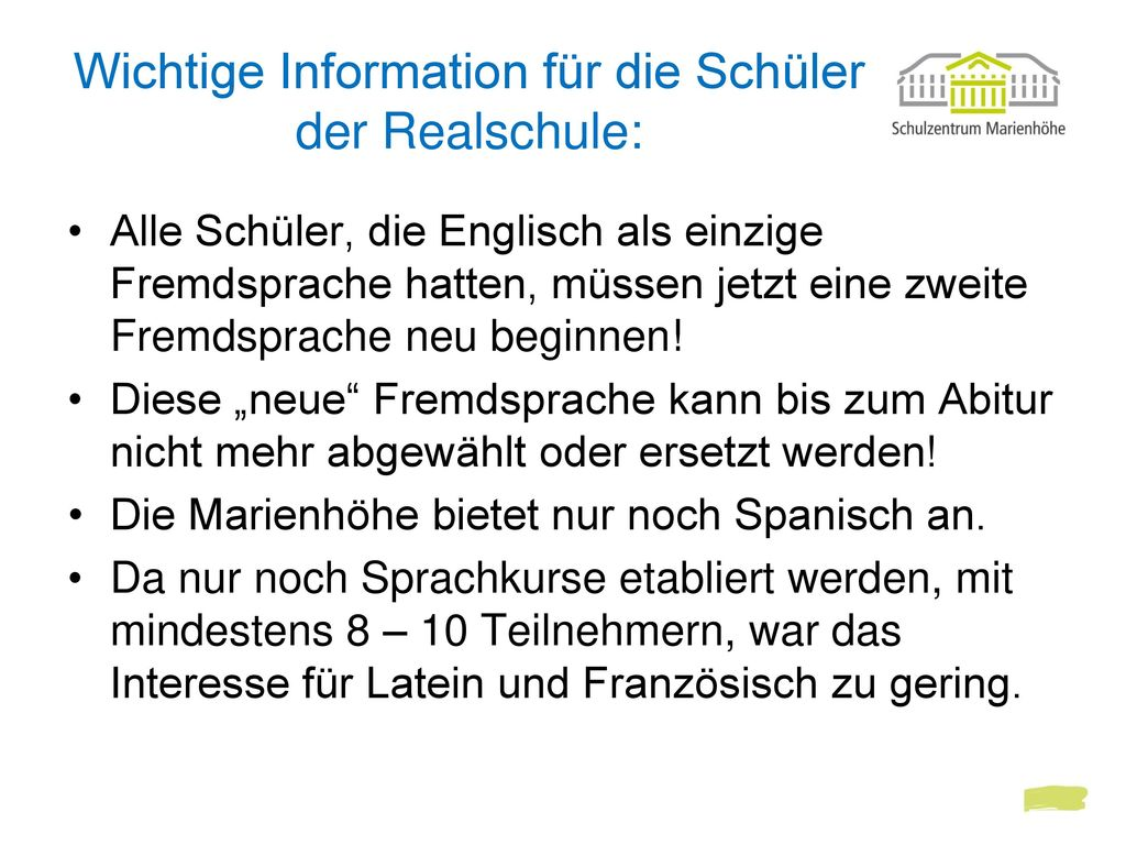 Wichtige Information für die Schüler der Realschule: