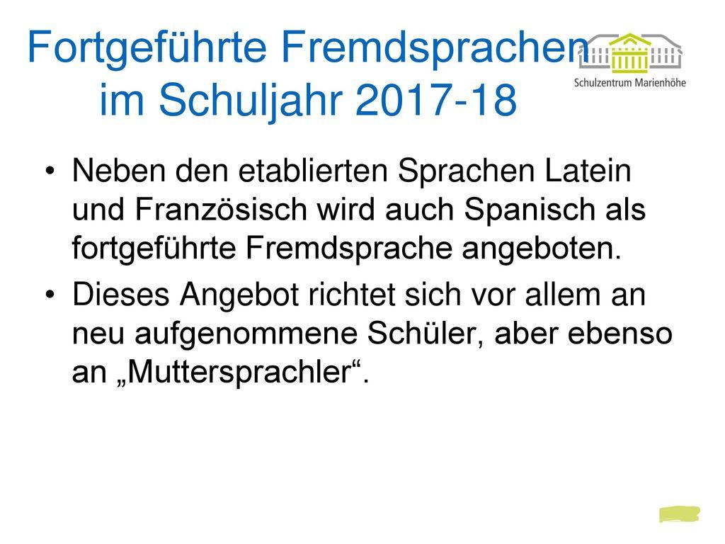 Fortgeführte Fremdsprachen im Schuljahr 2017-18