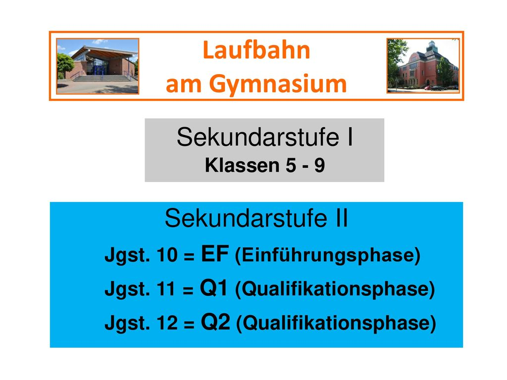 Laufbahn am Gymnasium Sekundarstufe I Sekundarstufe II Klassen 5 - 9