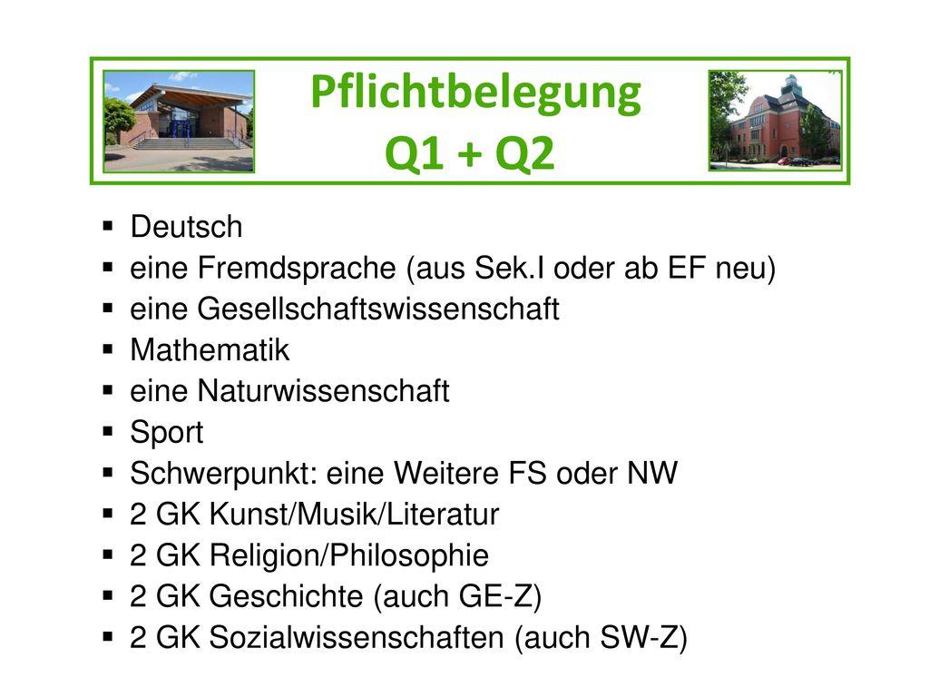 Pflichtbelegung Q1 + Q2 Deutsch