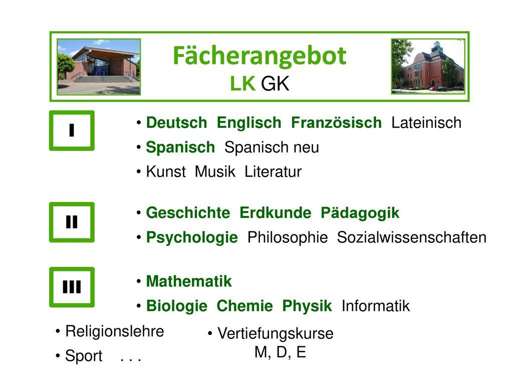 Fächerangebot LK GK I II III Deutsch Englisch Französisch Lateinisch