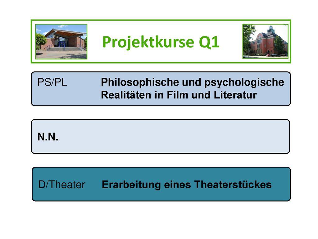 Projektkurse Q1 PS/PL Philosophische und psychologische Realitäten in Film und Literatur. N.N.