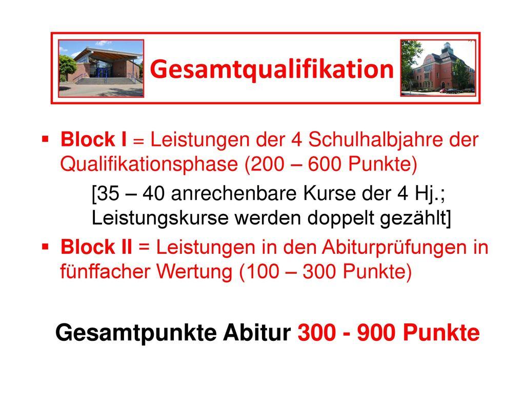 Gesamtqualifikation Gesamtpunkte Abitur 300 - 900 Punkte