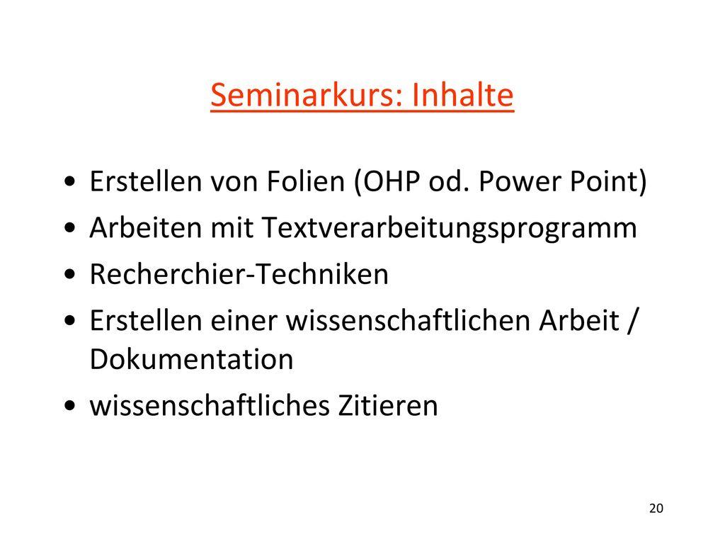 Seminarkurs: Inhalte Themenfindung