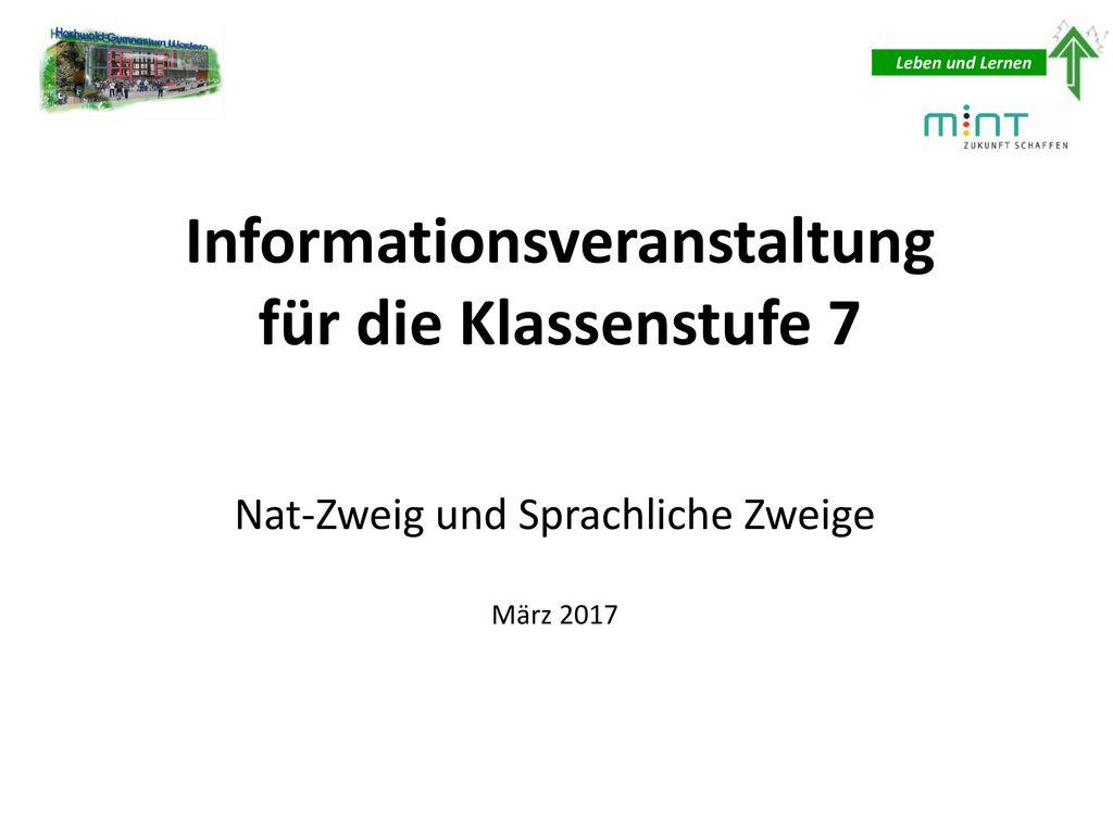 Informationsveranstaltung für die Klassenstufe 7