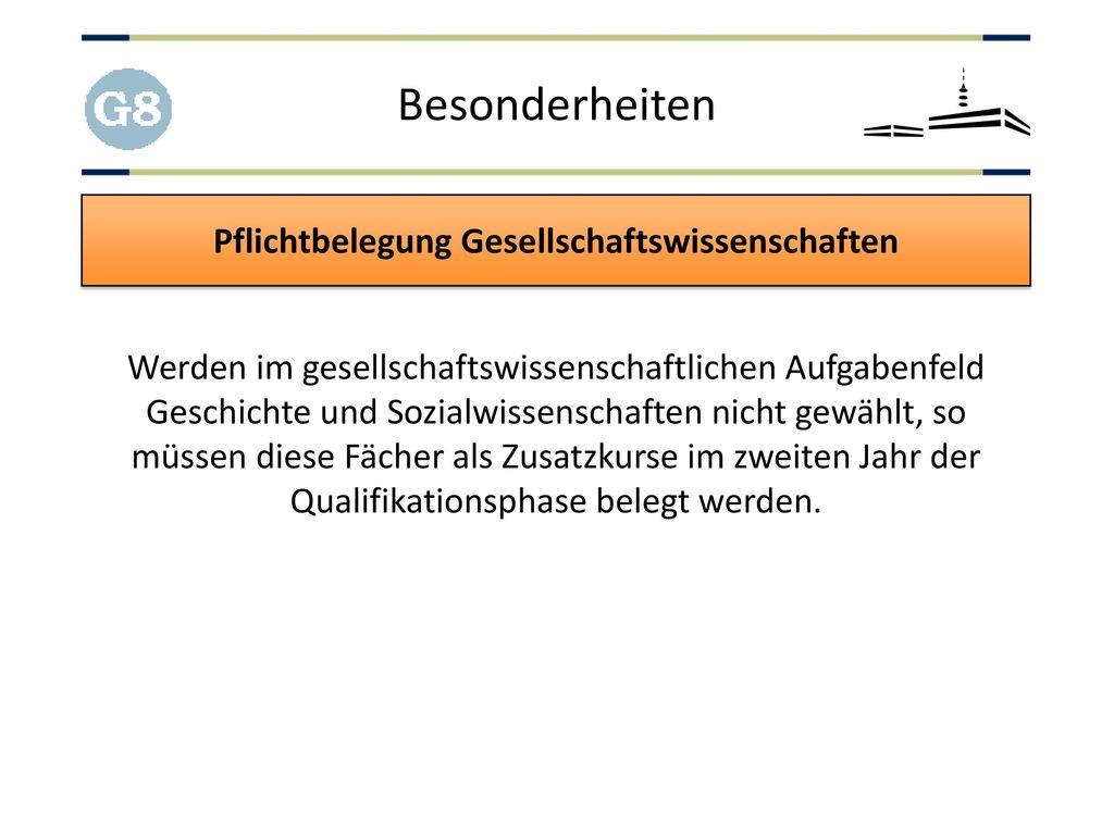 Pflichtbelegung Gesellschaftswissenschaften