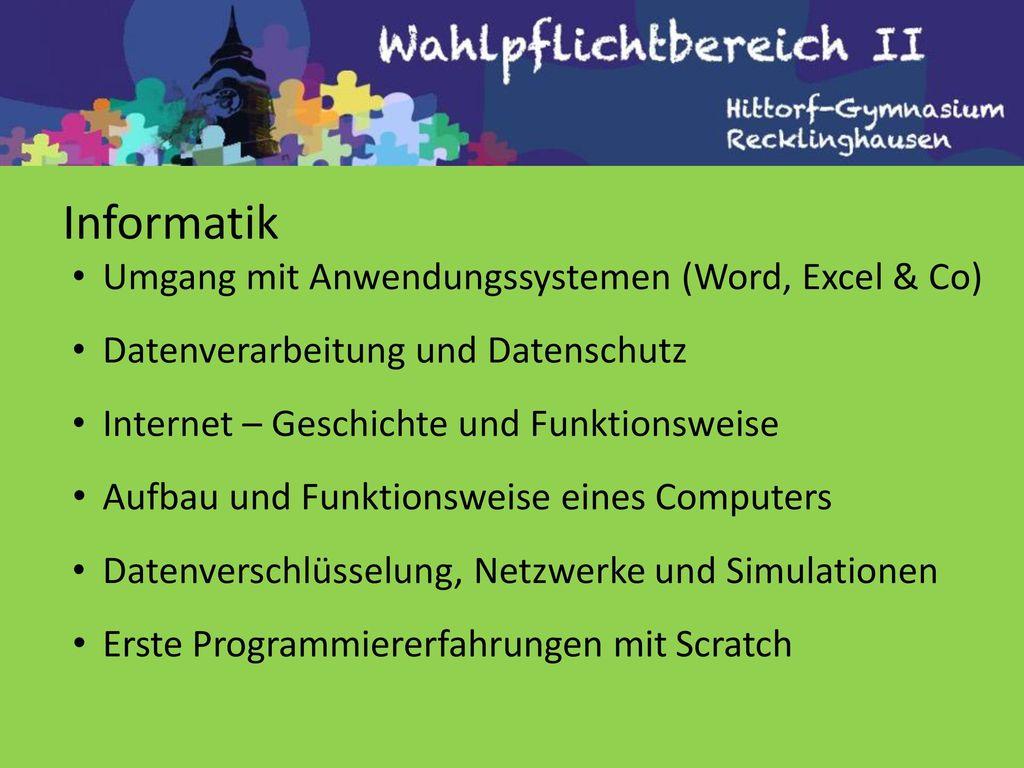 Informatik Umgang mit Anwendungssystemen (Word, Excel & Co)