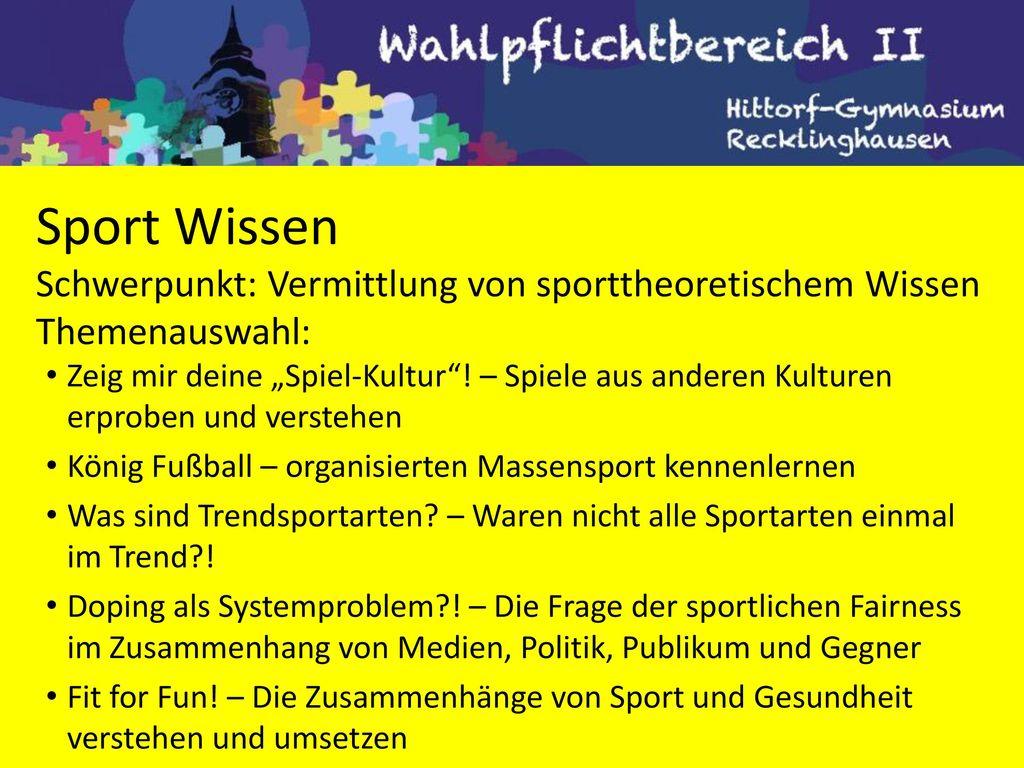 Sport Wissen Schwerpunkt: Vermittlung von sporttheoretischem Wissen