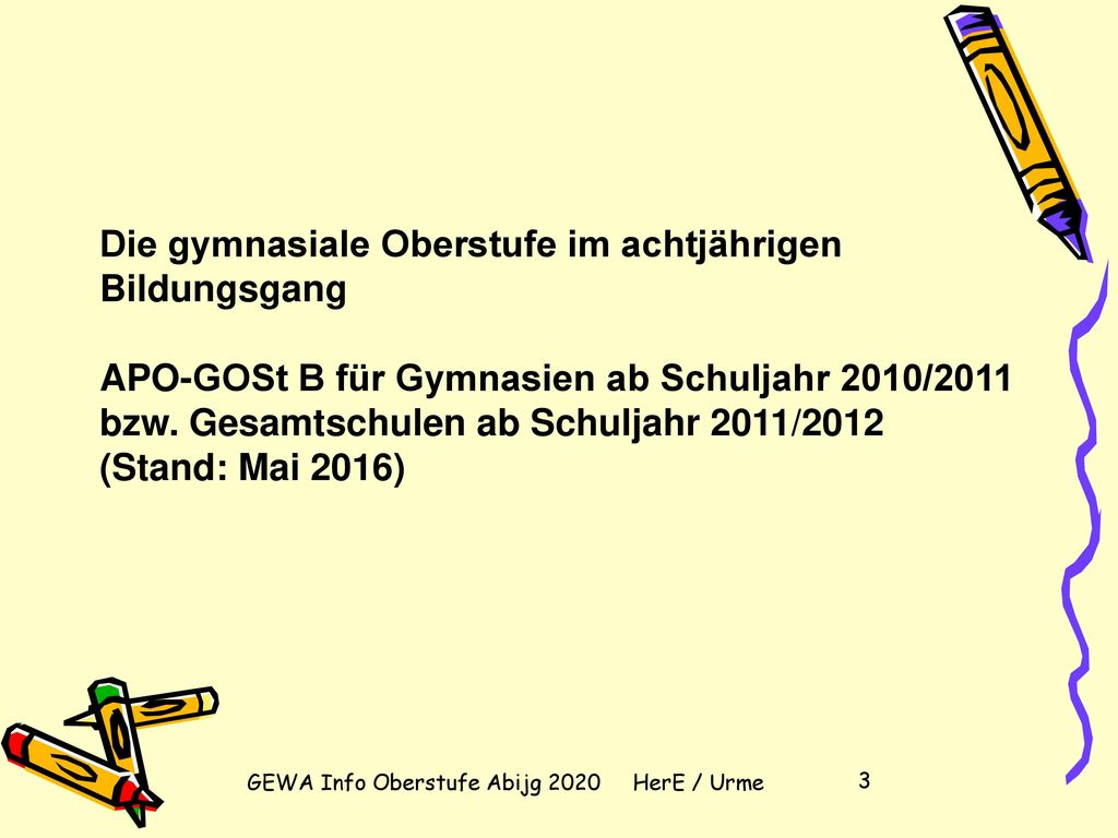 GEWA Info Oberstufe Abijg 2020 HerE / Urme