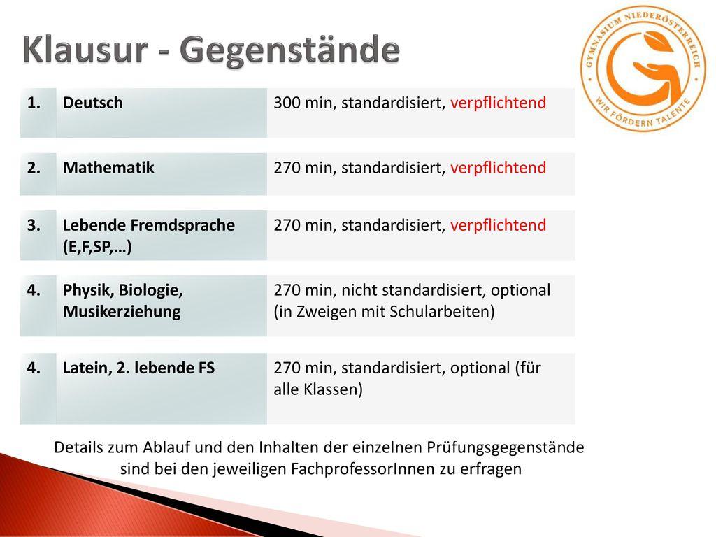 Klausur - Gegenstände 1. Deutsch