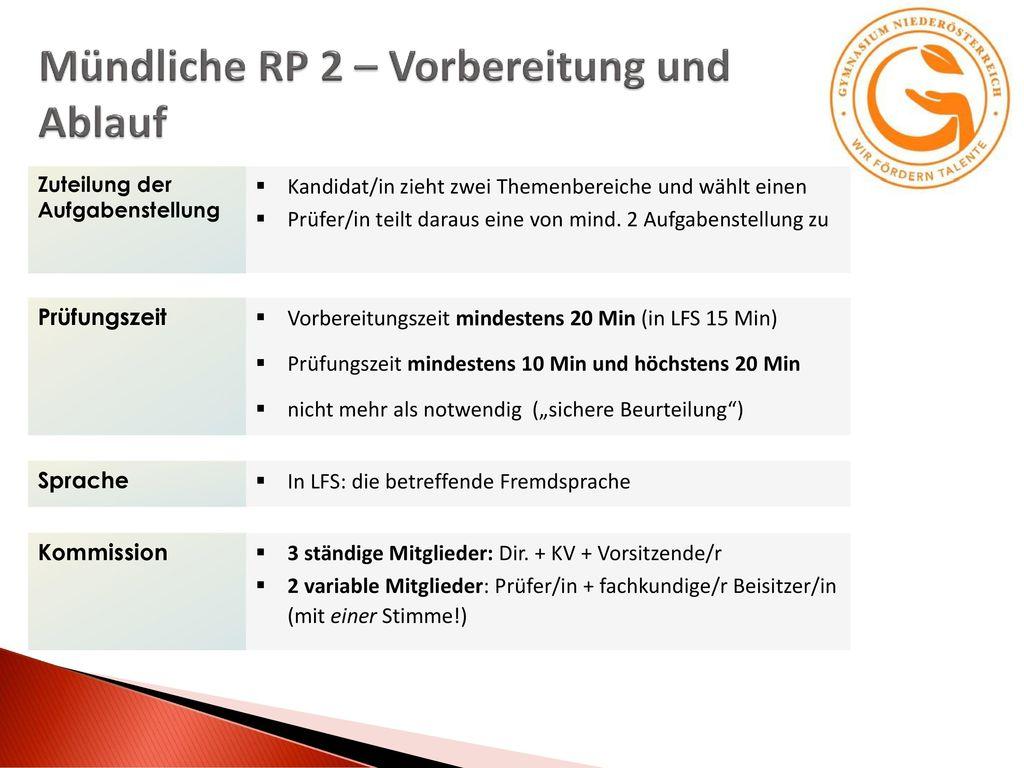 Mündliche RP 2 – Vorbereitung und Ablauf