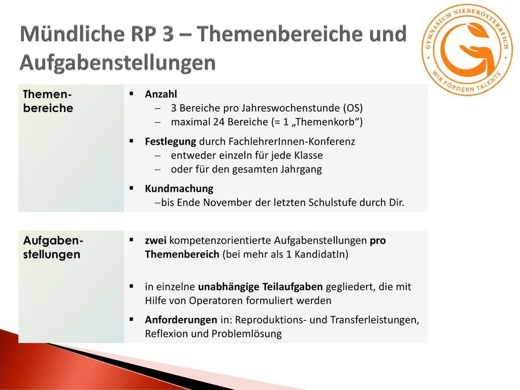 Mündliche RP 3 – Themenbereiche und Aufgabenstellungen