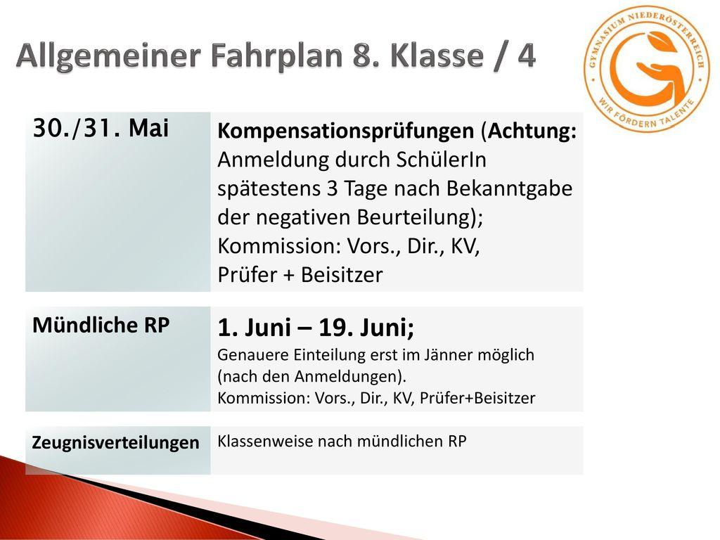 Allgemeiner Fahrplan 8. Klasse / 4