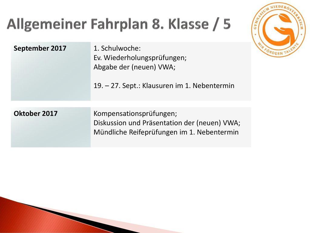 Allgemeiner Fahrplan 8. Klasse / 5
