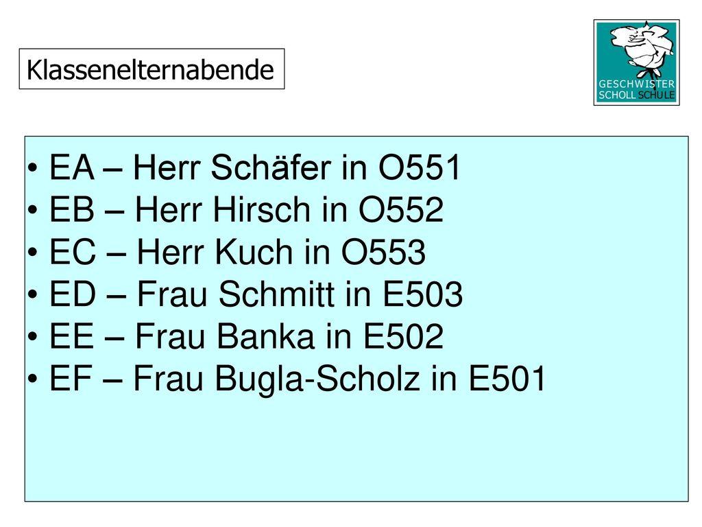 EF – Frau Bugla-Scholz in E501