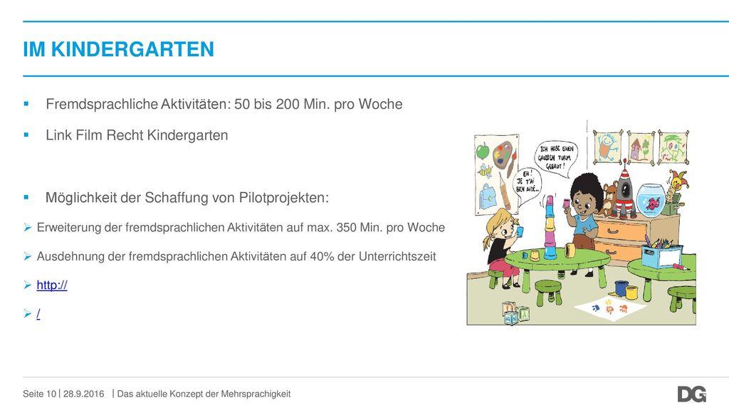 IM KINDERGARTEN Fremdsprachliche Aktivitäten: 50 bis 200 Min. pro Woche. Link Film Recht Kindergarten.