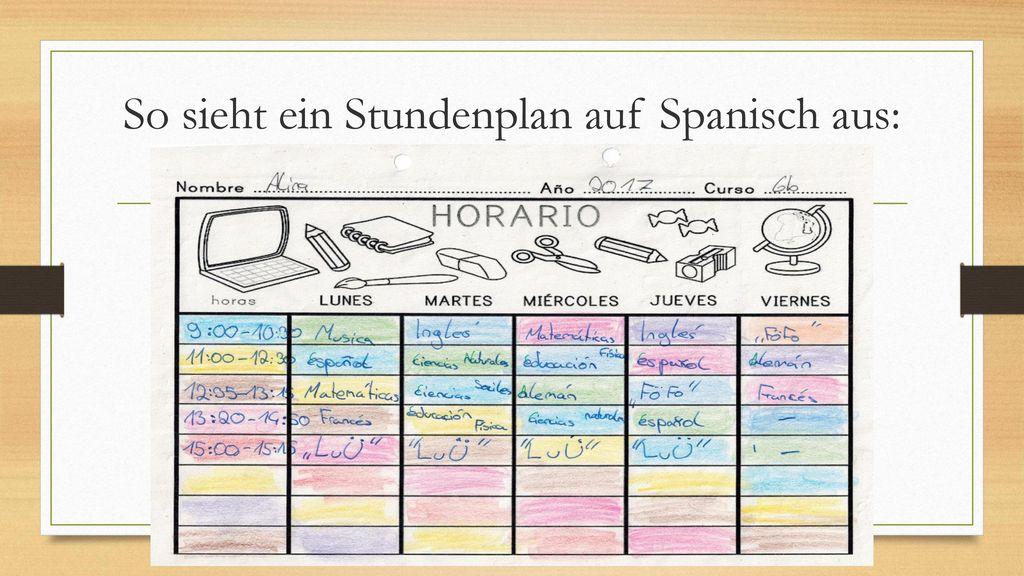 So sieht ein Stundenplan auf Spanisch aus: