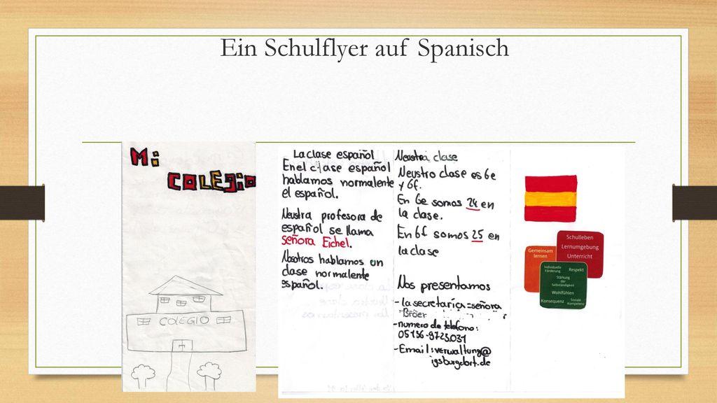 Ein Schulflyer auf Spanisch