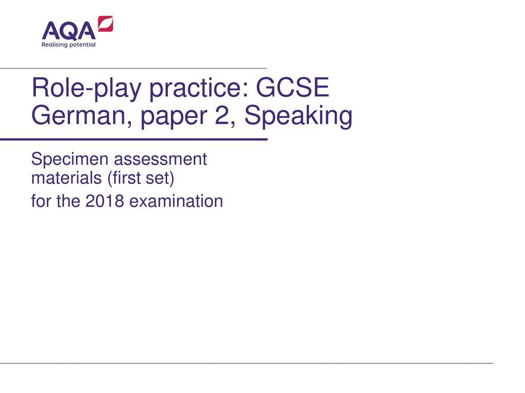 Role-play practice: GCSE German, paper 2, Speaking