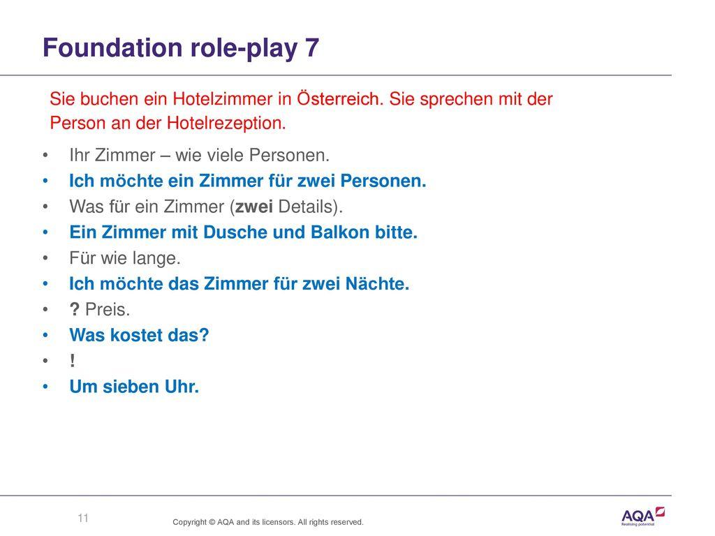 Foundation role-play 7 Sie buchen ein Hotelzimmer in Österreich. Sie sprechen mit der. Person an der Hotelrezeption.