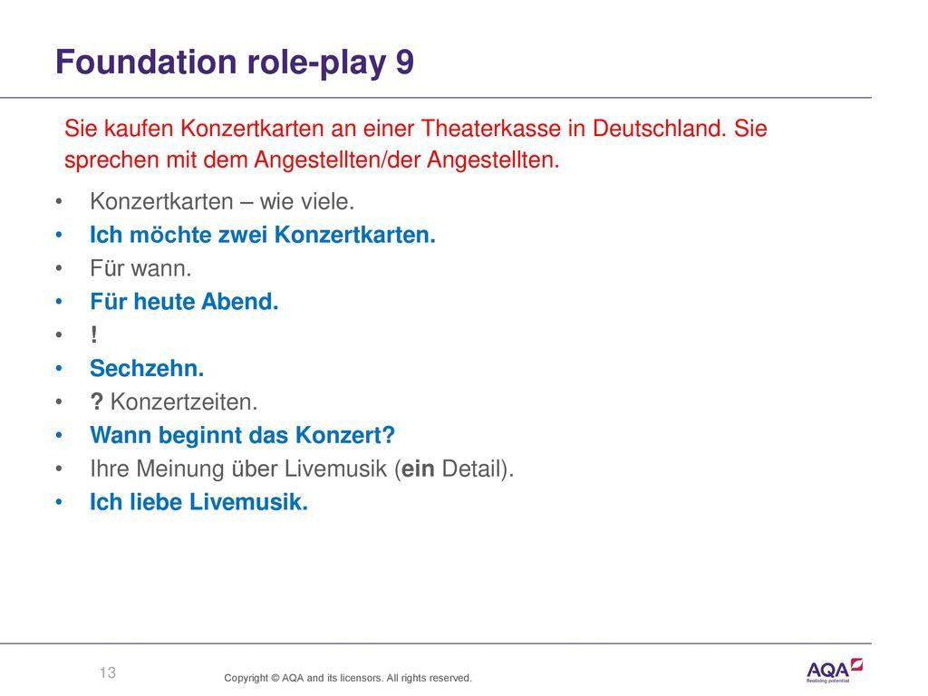 Foundation role-play 9 Sie kaufen Konzertkarten an einer Theaterkasse in Deutschland. Sie. sprechen mit dem Angestellten/der Angestellten.