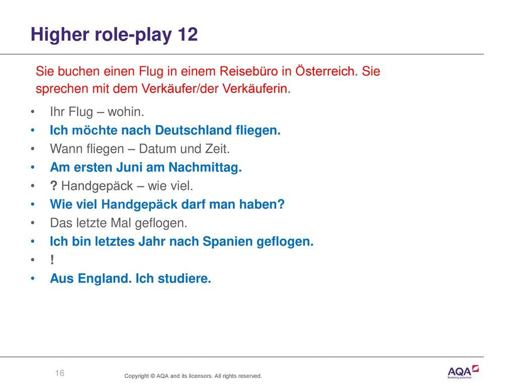 Higher role-play 12 Sie buchen einen Flug in einem Reisebüro in Österreich. Sie. sprechen mit dem Verkäufer/der Verkäuferin.
